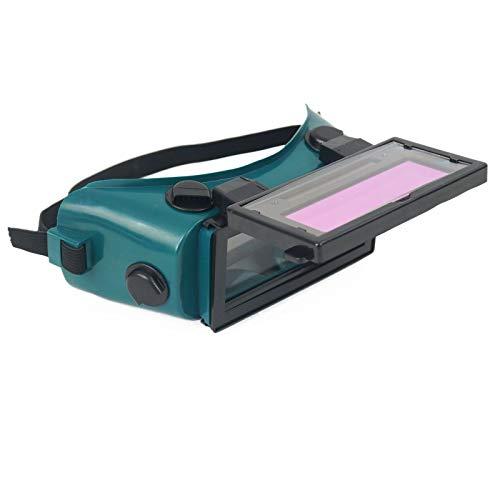 Gafas solares de soldadura de oscurecimiento automático, máscara de arco soldador sombra de ojos protección para sitios de construcción, soldadura eléctrica, soldadura a gas (verde oscuro)