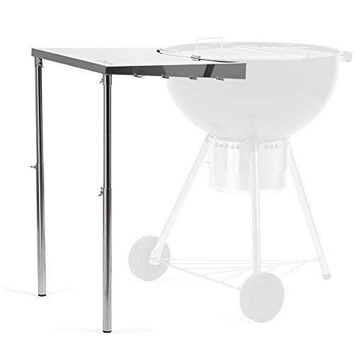BBQ-Toro Edelstahl Beistelltisch für Ø 57 cm Kugelgrill | 55 x 51 x 47-74 cm | höhenverstellbarer Kugelgrill Seitentisch mit 4 Haken für Grillbesteck
