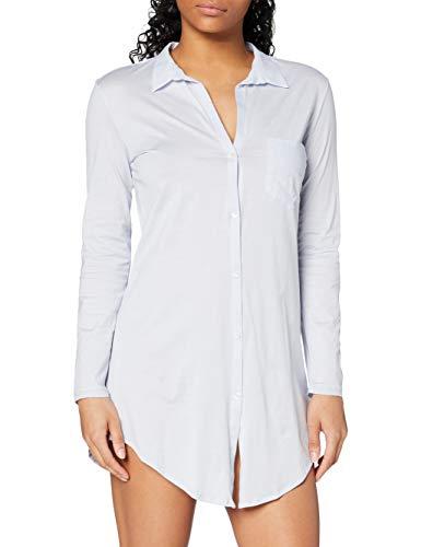 Hanro Damen 1/1 Arm 90 cm Cotton Deluxe Nachthemd, Blau (blue glow 0511), 38/40 (Herstellergröße: S)
