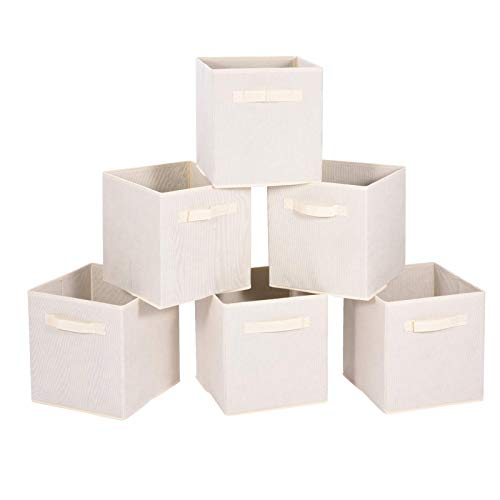MaidMAX, Beige, Cloth Storage Bin with Dual Handles for Home Closet Nursery Drawers Organizer, Foldable, 10.5×11 inches, Set of 6, 6-Pack, 6 Pack