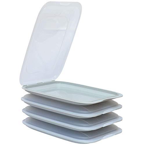 ENGELLAND - Hochwertige stapelbare Aufschnitt-Boxen, Frischhaltedose für Aufschnitt. Wurst Behälter. Perfekte Ordnung im Kühlschrank, 4 Stück Farbe Grau, Maße 25 x 17 x 3.3 cm