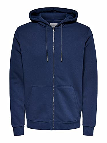 Only & Sons Onsceres Life Zip Thr. Hoodie Sweat Noos Sudadera, Azul Oscuro, L para Hombre