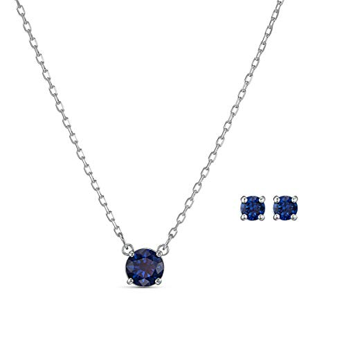 Swarovski Women's 125th Anniversary Attract Round Crystal Necklace and Pierced Earring Jewelry Set, Blue Crystals with Rhodium Plated Metal