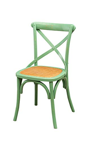 Biscottini Sedia Thonet 88x52x48cm | Sedie Cucina Legno di Frassino | Sedie Sala da Pranzo Legno Finitura Verde Anticato | Sedia Cucina Seduta Rattan