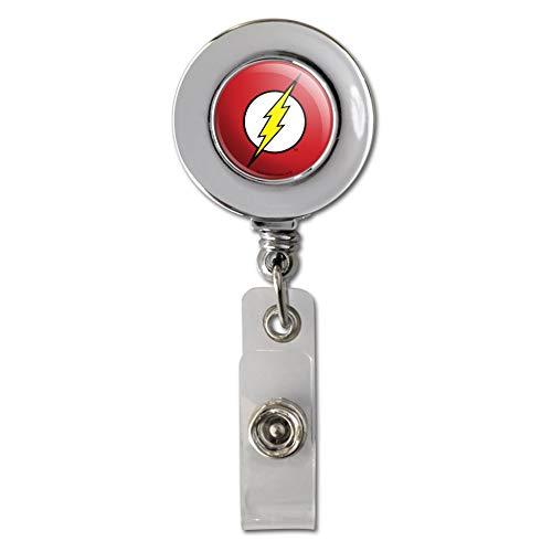 The Flash Lightning Bolt Logo Retractable Reel Chrome Badge ID Card Holder Clip