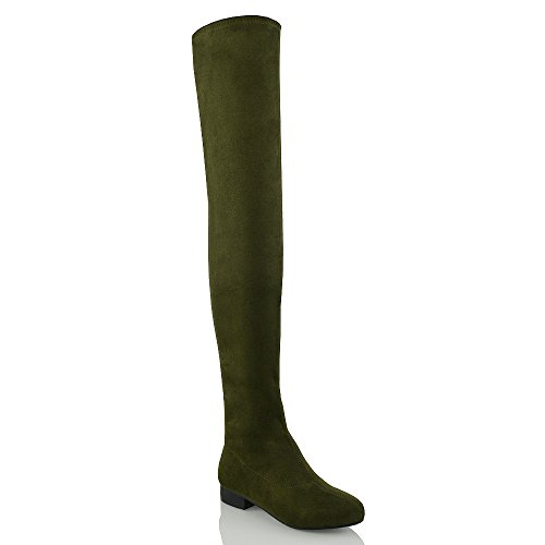 ESSEX GLAM Womens Thigh High Stretch Faux Suede Over The Knee Boots (5 B(M)...