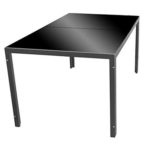 Wohaga Gartentisch 'London', 150x90cm, Stahlrahmen anthrazit, Tischglasplatte schwarz undurchsichtig