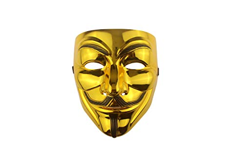 Udekit Hacker Máscara V para Vendetta Máscara Anónimo para Disfraz De Halloween Cosplay Accesorios Fiesta Props Oro