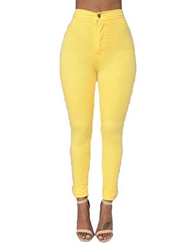 Kasen Mujer Cintura Alta Elásticos Pantalones Pantalones De Lápiz Amarillo S