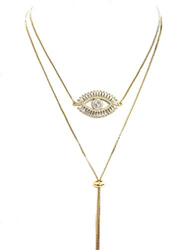 Gold Evil Eye Lariat Necklace for Women 18K Gold Plated Sliding Adjustable Chain Choker Jewelry