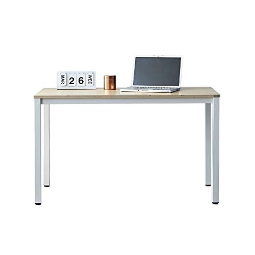 """SOFSYS 47.2"""" Multi-Functional Computer Desk Workstation Table, Industrial Home Office Design for Writers, Video Gaming, Designers and Entrepreneurs, Large Desktop with Metal Frame, Oak/White"""