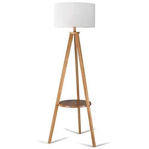 Lámpara de pie con mesa, mesa de centro nórdica, lámpara vertical, estante, salón, dormitorio, madera maciza japonesa, 3 patas, lámpara de mesa vertical moderno talla a
