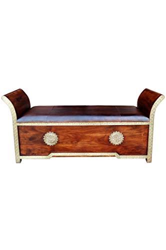 Orientalische Sitzbank Kiste aus Holz Moha -2- 155cm groß mit Messing | Vintage Truhe mit Aufbewahrung für den Flur | Aufbewahrungsbox im Bad | Betttruhe als Kissenbox oder Deko im Schlafzimmer - 2