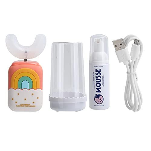Zerodis Cepillo de Dientes eléctrico para niños en Forma de U ultrasónico Cepillo de Dientes eléctrico Impermeable para niños Herramienta de Limpieza de Dientes para niños y niñas