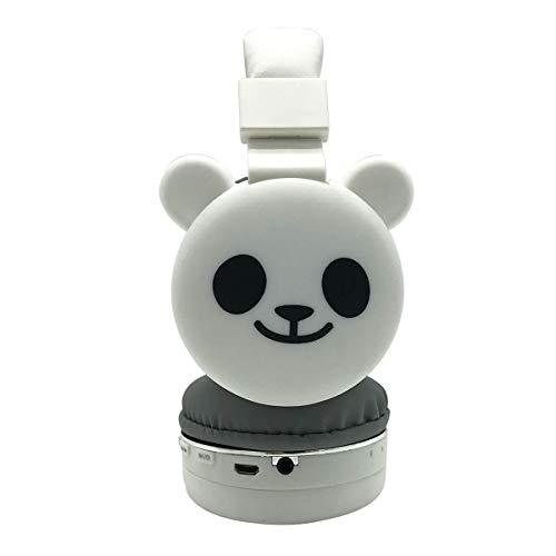 weichuang Auriculares de diadema para niños con diseño de caricaturas azules, 3D, gato, conejo, animal, casco de música, inalámbricos, para teléfono móvil, MP3, auriculares para PC (color: Panada)