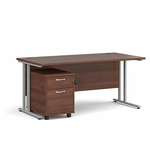 Maestro - Juego de 25 escritorios, 800 mm de profundidad, recto, pedestal móvil con 2 cajones con patas voladizas, color nogal y 160 cm