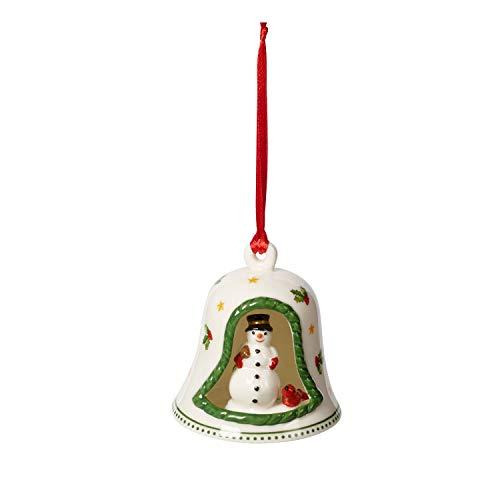 Villeroy & Boch My Christmas Tree Glocke mit Schneemann, kleiner Baumschmuck aus Hartporzellan, bunt, 6 x 6 x 7 cm