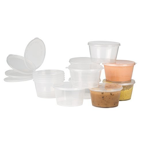 Plastic Condiment Cups with Attached Leak Resistant Lid, BPA Free, [50 Pack ] Clear Portion Container for Condiments, Samples, Dressings, More! (2 oz)