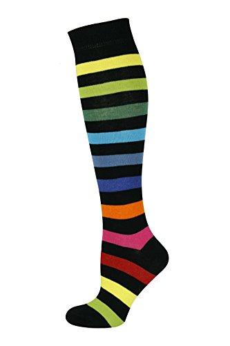 Mysocks Unisex Kniestrümpfe lange Socken Streifen neu Dunkler Regenbogen dick
