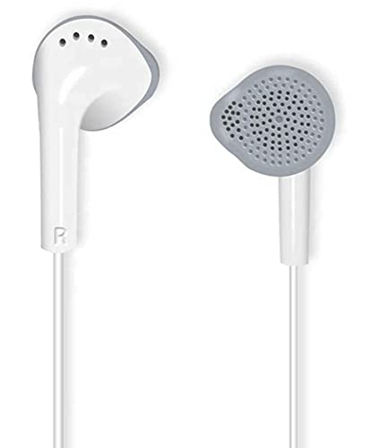 BoomBoom YS HandsFree Earphones Compatible for Samsung M51/A31/F62/A01 with Built in Mic Bass Boosted with Dynamic Drivers (White)