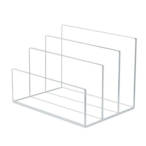 NIUBEE Acrylic File Holder 3 Sections Clear Office Desk File Sorter Organizer 9-Inch Wide x 65-Inch Deep x 65-Inch High