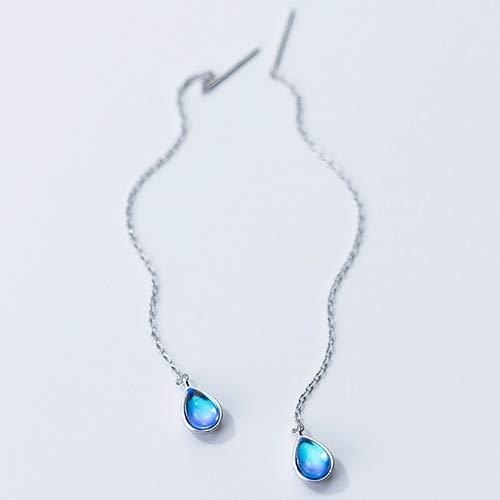 DJMJHG Pendientes Femeninos de Plata esterlina 925 Pendientes de Verano con Forma de Gota de Agua Azul Regalo de Lujo para Mujer2