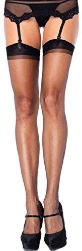Leg Avenue Damen Straps Strümpfe 15 DEN Schwarz sehr transparent mit rückwärtiger Naht Einheitsgröße 36 bis 40