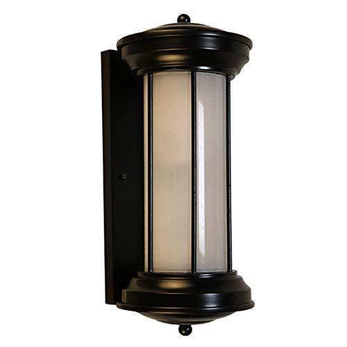 GIOAMH Aplique de pared exterior negro resistente a la intemperie, aplique de pared de metal retro con pantalla de acrílico, blanco cálido, enchufe E27, luz exterior LED para porche, garaje, puerta,