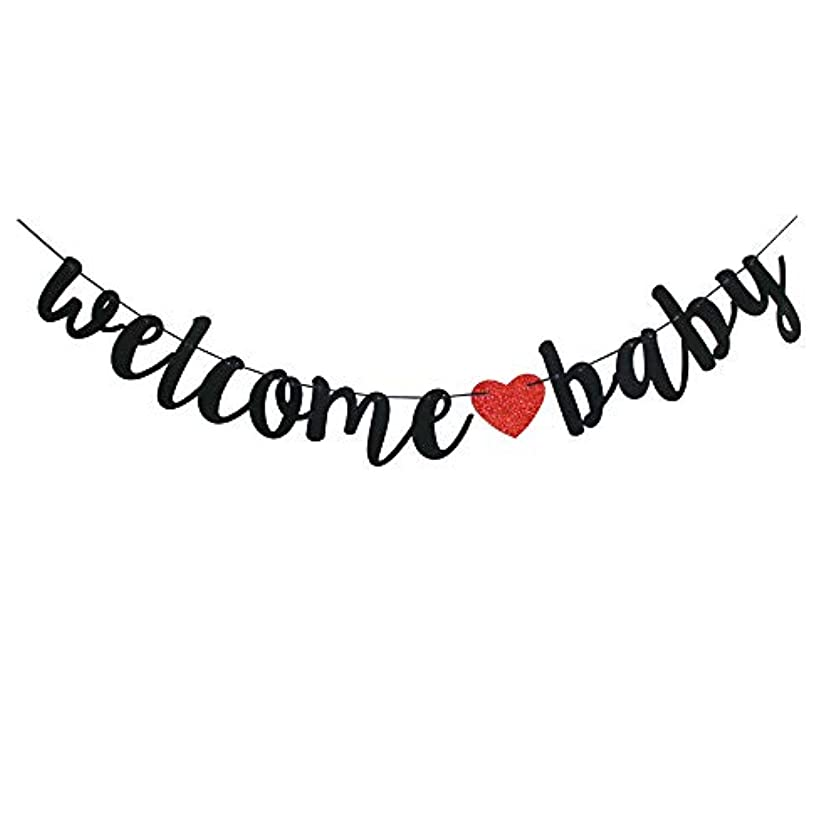 Welcome Baby Banner, Black Baby Shower - Gender Reveal - Pregnancy Announcement Party Sign Decorations
