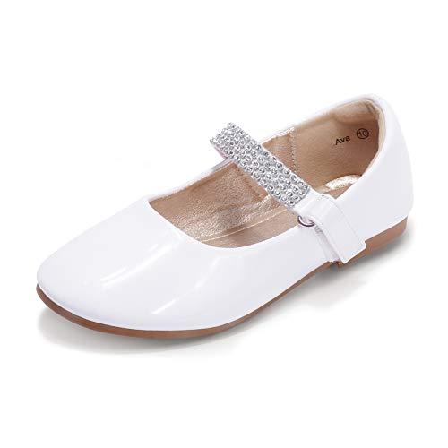 HEHAINOM Toddler/Little Kid Girls Dress Ballet Flats Rhinestone Strap Flower Girl School Party Mary Jane (Ava White Patent, 12 M US Little Kid)