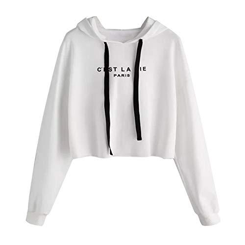 Damen Teenager Mädchen Pullover Hoodie Frauen Pulli Crop Tops MYMYG Langarm Kurz Sweatshirt Langarmshirt Oberteile Hoodie Crop Tops(Weiß,EU:34/CN-S)
