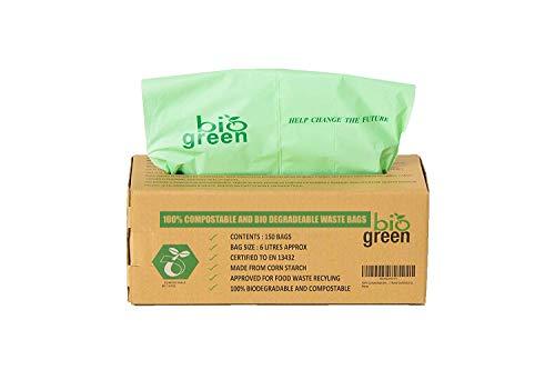 Compostables Cuisine Bio Sacs Poubelle – 150 Bio Bag déchets Alimentaires Compost 6L – 8L en 13432 – Sacs Poubelle biodégradables avec Guide de Compost (6L)
