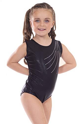 Vincenza Dancewear 'Revel' Black with Diamante, Girls Short Sleeved Leotard for Gymnastics (5-6 Years, 26
