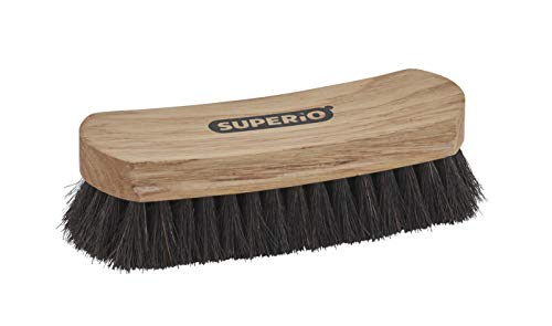 """Horsehair Shoe Brush, Premium Genuine Brush for Cleaning Shoes, Soft Horse Hair Bristles, 7"""" Concave Wood Handle with Comfort Grip, Shoe Buff Brush, Boots & Other Leather Care. by Superio"""