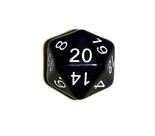 Initiative Advantage Black d20 Die for Role-Playing Games. 20 Sided RPG Dice