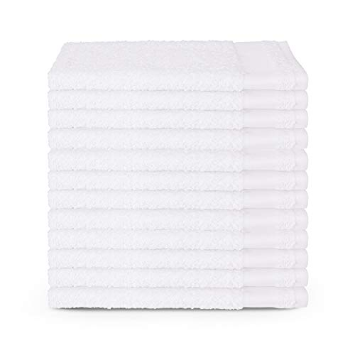 120 Premium Salon Towels – 100% Cotton 16 x 27 Inches – Absorbent Hand Towels for Gym, Beauty Spa, Barber or Hair and Nail Care – Bulk Wholesale Package for Hotels – Durable and Soft - White