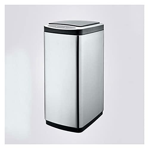 Cubos de basura para la cocina Bote de basura de cocina de gran capacidad con tapa de acero inoxidable Smart Passh Can Hogar Libre de basura automática gratuito (rectanglular, 20L / 30L) Cubos de reci