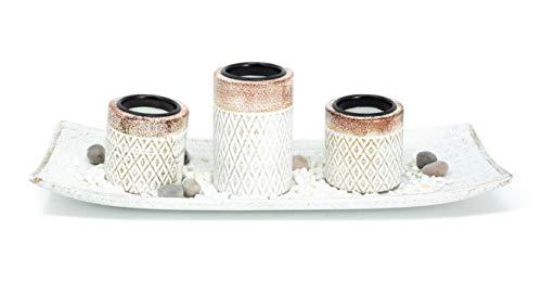 Benera 3er Set Teelichthalter aus Holz in Schale inklusive Dekosteine als Geschenkidee Tischdekoration Aztekenmuster Kerzenhalter Rautendesign