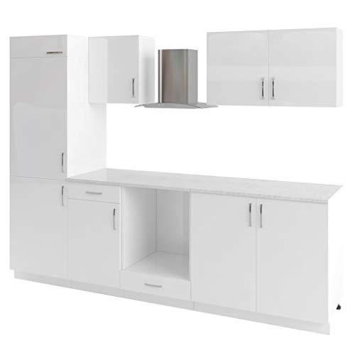 vidaXL Küchenzeile 7-TLG. Weiß Dunstabzugshaube Einbauküche Küchenblock Küche