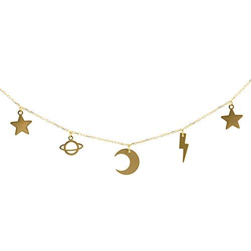 Gargantilla Charm estrellas, luna rayo y satelite Oro 18k | Ideal Gargantilla...