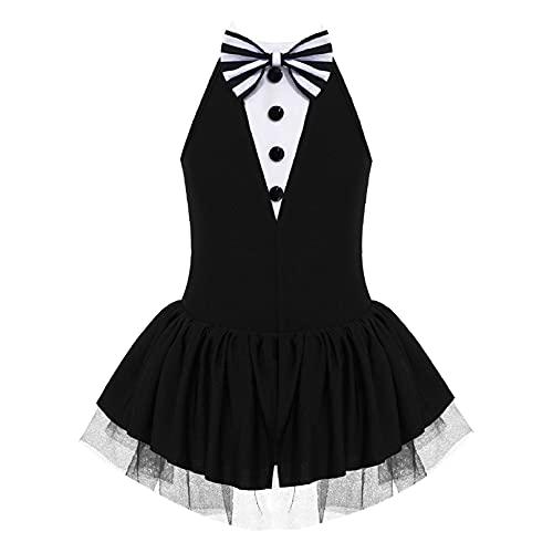 iiniim Maillot Vestido de Danza Ballet Lentejuelas para Nia Body de Baile Fiesta sin Mangas Tut de Danza Brillante sin Hombros Disfraz Bailarina Elegante Negro 10 aos
