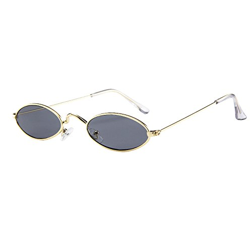 RONGYP Gafas de sol modernas para mujer, retro, ovaladas, pequeñas, con marco de metal