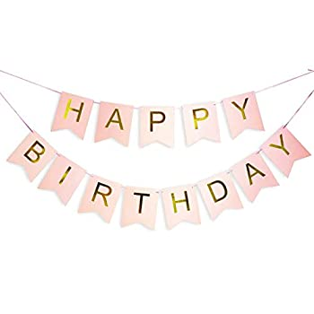 Pink Happy Birthday Banner with Shimmering Gold Letters Happy Birthday Bunting Banner for Party Decorations Swallowtail Flag Happy Birthday Sign gold happy birthday banner for Kids Girls Birthday