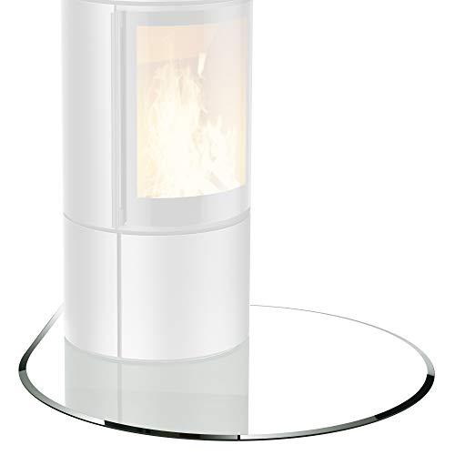 bijon® Glasplatte für Kaminofen Tropfenbogen mit Dichtlippe Glasbodenplatte - Funkenschutzplatte Glas | Kamin Hitzeschutz | 110 x 110 cm – 6 mm ESG Kamin-Bodenplatte