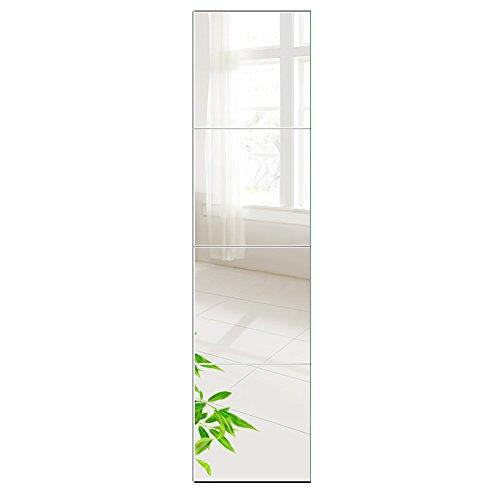 AUFHELLEN Wandspiegel 4 Stücke 35x35cm aus Glas Spiegel HD DIY Rahmenlos Spiegelfliesen an der Tür für Bad- oder Wohnzimmer (35x35cm, 4PCS)