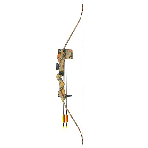 iGlow 20 lb Camouflage Camo Archery Hunting Recurve Bow +Quiver +Armguard +Finger Tab +2 26' Arrow lbs Compound Crossbow
