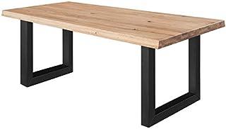 COMIFORT Mesa de Comedor - Mueble para Salon Oficina Despacho Robusto y Moderno de Roble Macizo Color Dorado con Lado Ondu...