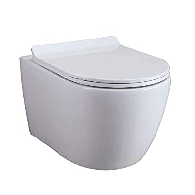 Homary Wall Hung Elongated Toilet Bowl 1.1/1.6 GPF Dual Flush Toilet Ceramic Wall Mount Toilet with In-Wall Tank and Carrier System in White, Water Saving (Bowl)