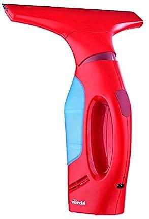 Vileda Windomatic - Aspirador de ventanas con labio de goma, limpiacristales con cabezal flexible y depósito de agua, aspiración vertical y horizontal, medidas 17,5x12x32 cm, color rojo