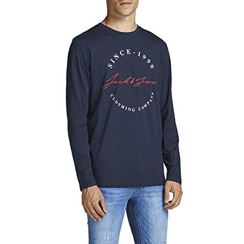 JACK & JONES Herren JJHERRO Tee LS Crew Neck T-Shirt, Navy Blazer/Fit:REG, XL